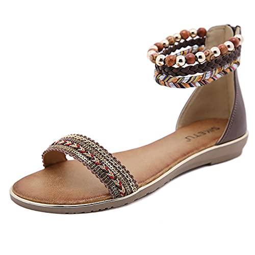 NICETOW Sandales Plates Confortables Chaussures décontractées pour la Maison Support de voûte Plantaire pour fasciite Plantaire Légères et Respirantes pour Les Voyages de fête à la Plage NOI