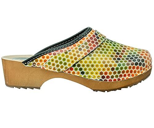 ESTRO Zuecos De Madera para Mujer Calzado Sanitario De Trabajo CDL06 (Panal, Numeric_37)