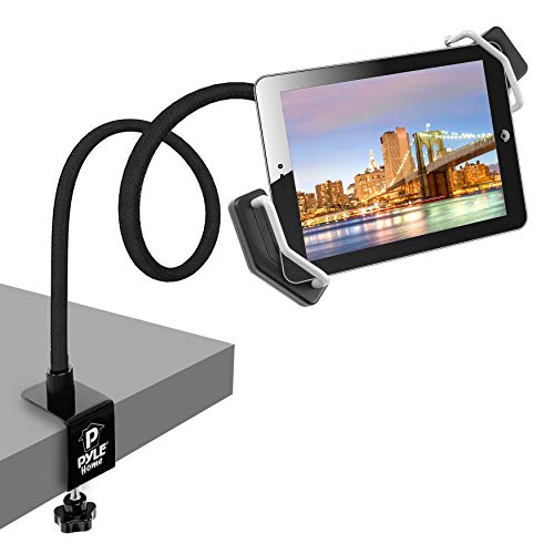 Pyle Tablet Holder Seat Bolt - Swivel Cradle, Table Clamp for All iPads, Kindle, Androids, eReaders, Nexus, Samsung Galaxy, Adjustable Gooseneck Arm, LED Lights, & USB Charging Port - PSPAD15, Black