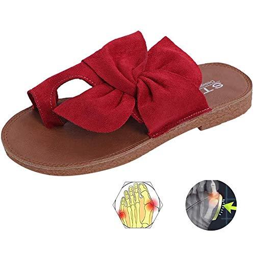 LOVEXIN Sandalias de Mujer con Lazo para Mujer Cómodas Zapatillas de Verano Deslizamiento Zapatos de Caminar Casuales Zapatos de Viaje Caucho,Rojo,43