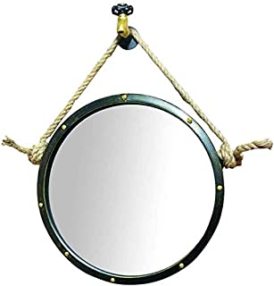 Daily Necessities Vintage Round Wall Mirrors Industrial Style Makeup Mirror with Hemp Rope   Retro Large Bathroom Makeup Mirror (Size : 50cm) (Size : 60cm)