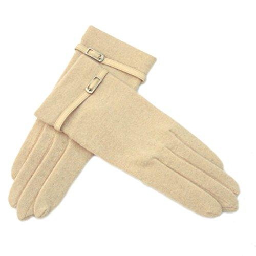 Guantes clásicos de lana de otoño invierno para mujer Guantes cálidos para pantalla táctil 1 par, beige (003)