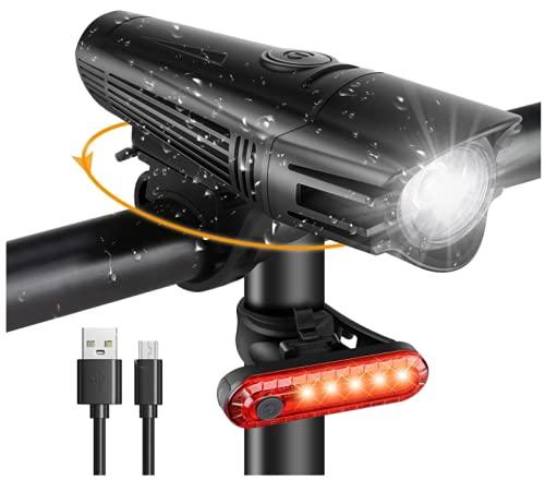 Luzes para bicicleta LED impermeável, luzes de bicicleta dianteira e traseira recarregáveis USB, 4 modos de iluminação, lanterna LED bateria de 2000 mA, proteção para ciclismo, estrada e montanha