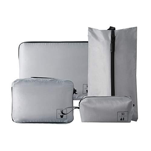 NINETYGO トラベルポーチ 4点セット 大容量 衣類 かわいい アレンジケース 多機能ポッチ パッキングバッグ 衣類収納 収納ケース 旅行 出張 整理用 グレー