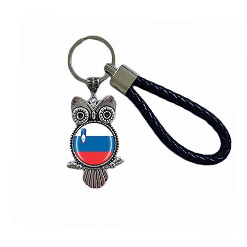 Schlüsselanhänger mit Slowenien-Flagge, Eule, Glas, Kristall, Schlüsselanhänger, Souvenir, Dekoration, Herren, Damen, Anhänger, Zubehör, Geschenk