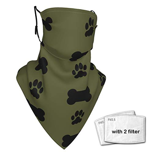 Dog Bone And Paw Print Neck Gaiter Face Scarf Bandanas Wind Sun Protection, Multi-Purpose Cloth mask Balaclava for Outdoor Hiking Cycling Running