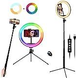 Ring Light 10 Pollici RGB con Estensibile Treppiede Bastone Selfie Stick, 21 Modalità Colore LED Luce ad Anello, Telecomando Wireless, Cavalletto Smartphone per Tavolo e Terra