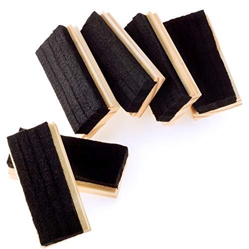 6 Pack Chalkboard Erasers Premium Wool Felt Eraser Dustless Wood Chalk Eraser Blackboard Eraser Cleaner for Teachers and Kids