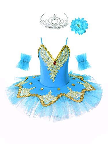Oyolan Kinder Mädchen Pailletten Tanz Ballerina Kostüm Schwanensee Ballett Outfit Ballett Trikot Prinzessin Performance Kostüme Tutu Kleid Gr.98-152 Hellblau 146-152