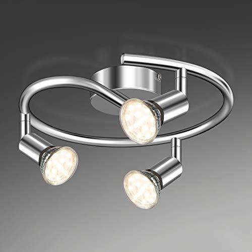Unicozin LED Deckenleuchte Rund, 3 Flammig LED Deckenstrahler Schwenkbar Chrom, Inkl. 3 x 3.5W GU10 LED Lampen, 380LM, Warmweiß, LED Deckenspot LED Deckenlampe