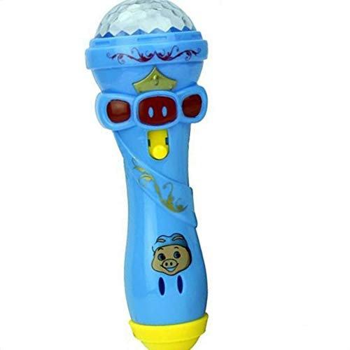 Chunyang Kinder-Cartoon-Beleuchtung Mikrofon Mic Karaoke-Stock-Lichtprojektor-Kind-Geschenk-Spielzeug zufällige Farbe