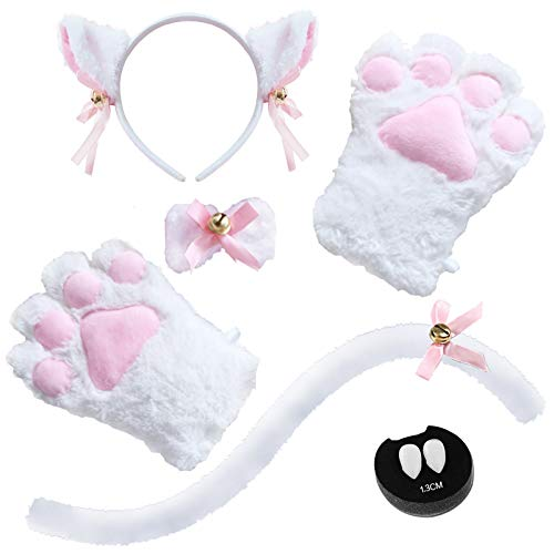 Abida Cat Cosplay Costume - 5 Pcs Cat Ear and Tail Set with Collar Paws Glovesand Vampire Teeth Fangs for Lolita Gothic Halloween-White