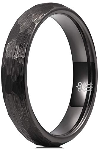 THREE KEYS JEWELRY Womens Rings Unique Hammered 4mm Tungsten Carbide for Man Ring Wedding Band Gifts Bands Rings for Women Black Size 9.5