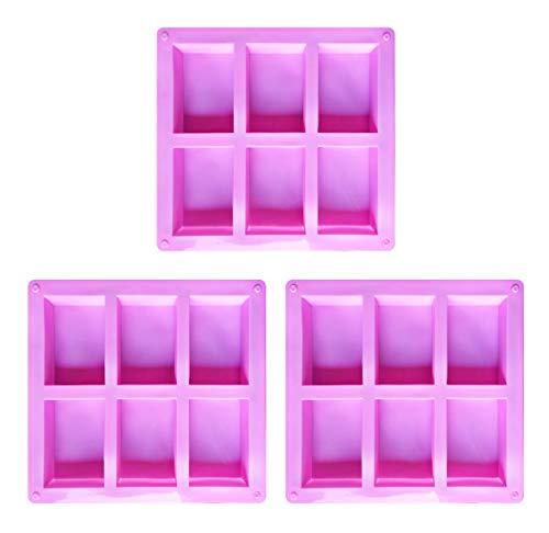 Juego 3 moldes jabón rectangulares silicona jabón