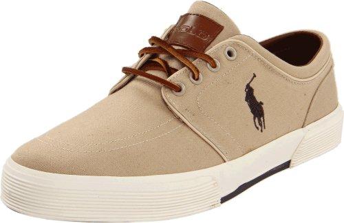 Polo Ralph Lauren Men's Faxon Low Sneaker, Khaki Canvas, 11 D US