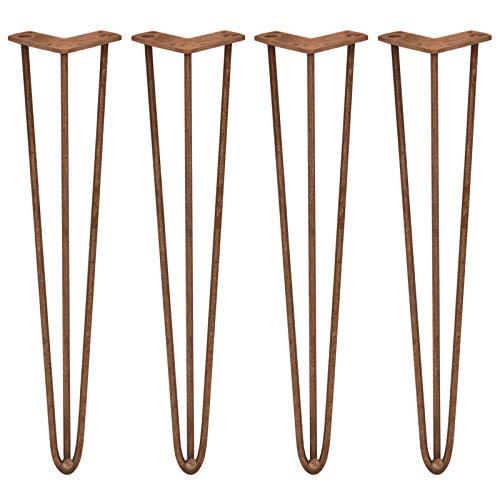 SKISKI LEGS - 4 Patas de Horquilla para Mesa SkiSki Legs 71 cm de Altura 3 Dientes 10mm Espesor de Acero Industrial Robusto con Paquete de Tornillos GRATIS y Protector de Pies GRATIS Cobre Antiguo