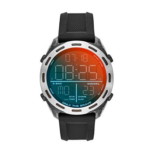 Diesel Herren LCD Digital Uhr mit Silikon Armband DZ1893