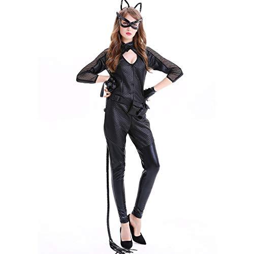 Cosplay de Las Mujeres de Halloween Ropa Trajes, Trajes de seoras de Halloween Cosplay del Gato de Patentes Sexy Girl Cuero de la PU del Gato mscara (Size : Large)