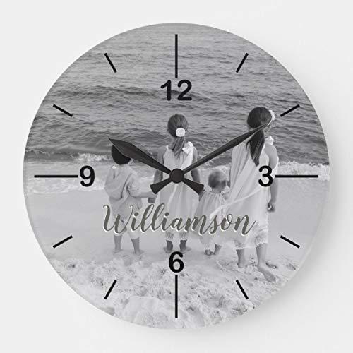 HSSS Personalisierte Foto-Uhr mit Namen, dekorative runde Wanduhr aus Holz, 30,5 cm