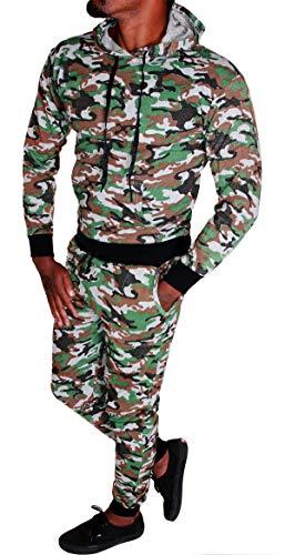 Herren Fitness Jogginganzug Sportanzug Jacke und Hose Camouflage Trainingsanzug R.F (A.4848) (XXL Braun)