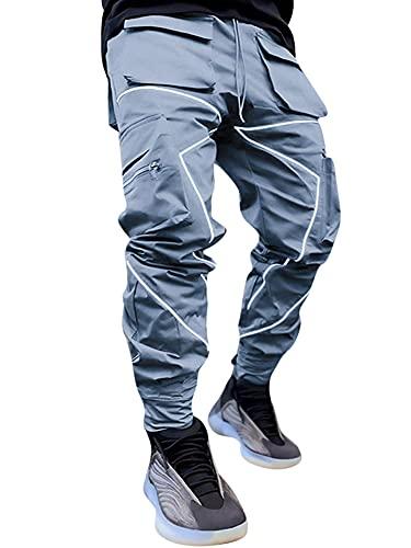 LAYAN-B Pantalones de carga para hombre con correa reflectante Hip Hop Harem Joggers Casual Pocket Pants