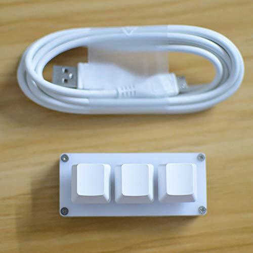 Ecarke 3-Tasten-Gaming-Tastatur, USB Mini 3-Tasten-Tastatur Mechanische Gaming-PC-Tastaturen Programmiermakro mit Software OSU HID-Standardtastatur.