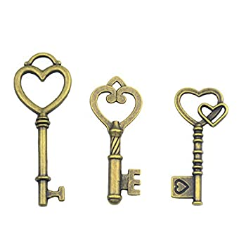 Makhry Mixed 30 Antique Style Vintage Skeleton Keys Heart Shaped Key Craft Keys for Decoration Wedding Party Antique Charms Antique Bronze
