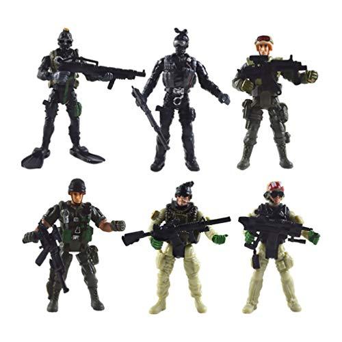 STOBOK 6 Pezzi Us Men E SWAT Team Soldatini Action Figures Playset Soldati SWAT Team Figures Set da Gioco Militare per Bambini