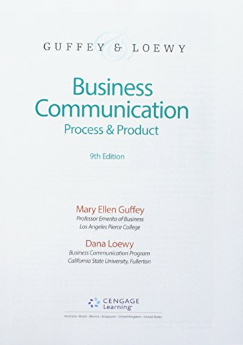 Compare Textbook Prices for Bundle: Business Communication: Process & Product, Loose-Leaf Version, 9th + MindTap Business Communication, 1 term 6 months Printed Access Card 9 Edition ISBN 9781337591973 by Guffey, Mary Ellen,Loewy, Dana