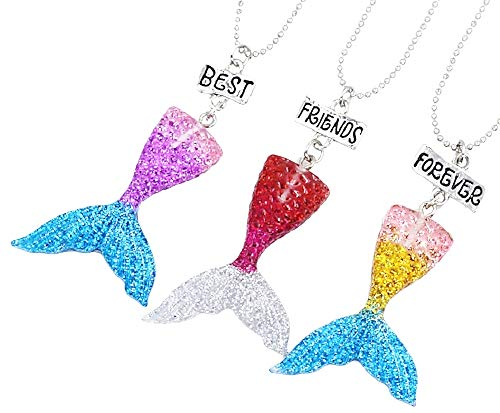 Drie meisjeskettingen - voor altijd - vriendschap - zeemeerminstaart x 3 - beste vrienden voor altijd voor 3 - kerst - bff - veelkleurig - origineel cadeau-idee best friends forever