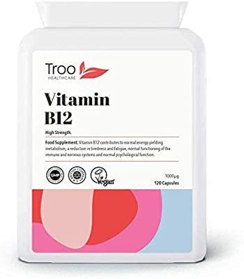 Vitamin B12 Methylcobalamin 1mg (1000mcg) 120 Capsules - Most Bioavailable Form of B12 - Contributes to Functioning of Metabolism, Nervous System, Immune System & Reduction of Fatigue by Troo Health Care