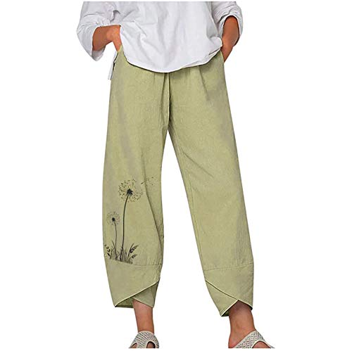 Pantalón Lino Mujer Verano Tallas Grandes Pantalones Anchos Mujer Pantalones Largos Sueltos Pantalón Anchos Pants Pantalones Muchos Colores y Patrones Pantalones Rectos