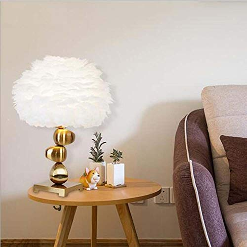BDwantan Feather Table Lamp Bedroom Nordic Living Room Restaurant Dining Table Lamp Creative Light Luxury Iron Feather Lamp Style 40 * 60cm