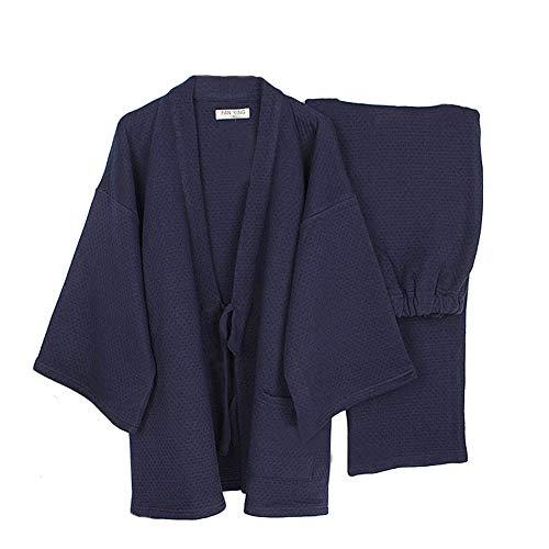 Trajes de Estilo japonés para Hombres Traje de Pijama de Invierno y Kimono de Invierno Grueso y Suelto