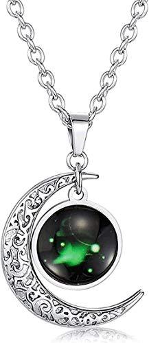 Collar para Mujer Collar para Hombre Collar con Colgante 12 Constelación Collar de Estrella y Luna Combinación de Regalo de cumpleaños Astgy Steel Lucky Symbol Colgante-Aries Símbolo Colgante Collar
