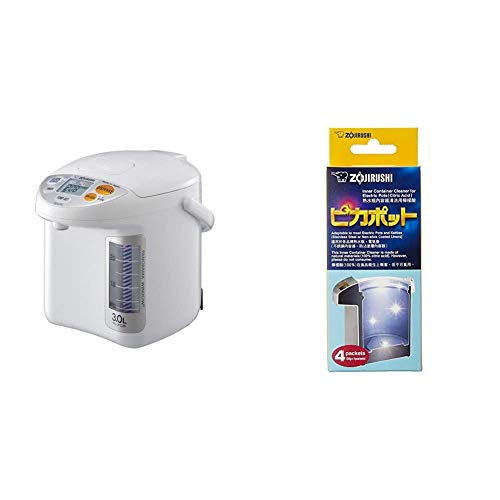 Zojirushi CD-LFC30 Panorama Window Micom Water Boiler and Warmer, 101 oz/3.0 L, White & #CD-K03EJU Inner Container Cleaner for Electric Pots, 4 Packets,White