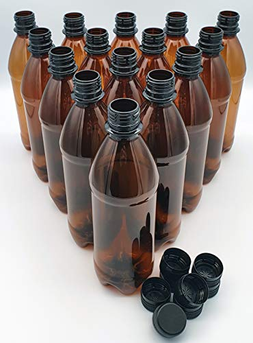 Home Brew Brown Screw Cap Top PET Plastic Bottles 500ml Basic 40 Pack