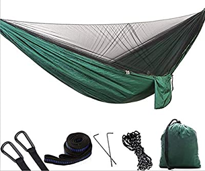 1/2 Person Camping Hammock with Mosquito/Bug Net, Single &Double Hammock Lightweight Portable Parachute Nylon Hammock for Camping,Backpacking,Survival,Travel & More