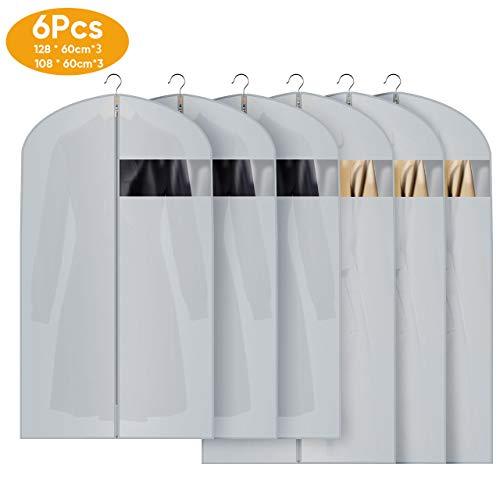 6 Stücke Kleidersack,Kleidersack kleiderhülle Abdeckungen für Lagerung, Anti-Motten-Schutz, Faltbar Waschbar für hängende Anzüge Mantel, Abendkleidung