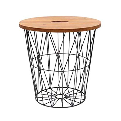 woyaochudan Newspaper Basket Wrought Iron Shelf Small Coffee Table Solid Wood Side Table Small Round Table Mini Bedside Table Best Support for Filing cabinets