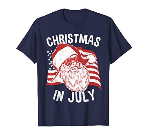 Christmas In July Shirt | Retro Hipster Santa 4th of July T-Shirt