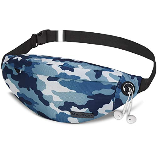 Camo Fanny Pack for Men Women,Camouflage Waist Pack with Headphone Jack and 3-Zipper Pockets Adjustable for Outdoors Workout Traveling Casual Running Hiking Festival