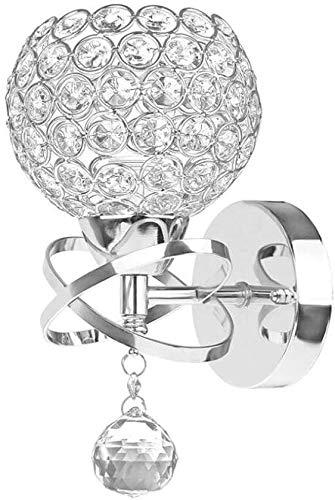 ZHLFDC Lámpara de Pared Interior Iluminación Redonda Moderno Cristal Lámpara de Pared Cromado Acabado Dormitorio Sala de Estar Salón Lámpara de lámpara de Pared con Interruptor y Enchufe, E27 Socket