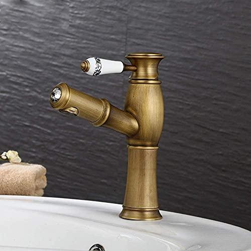 Grifo de cocina de baño retro totalmente de bronce, lavabo extraíble antiguo europeo, válvula mezcladora de lavabo frío y caliente, grifo mezclador de un solo orificio de alta calidad