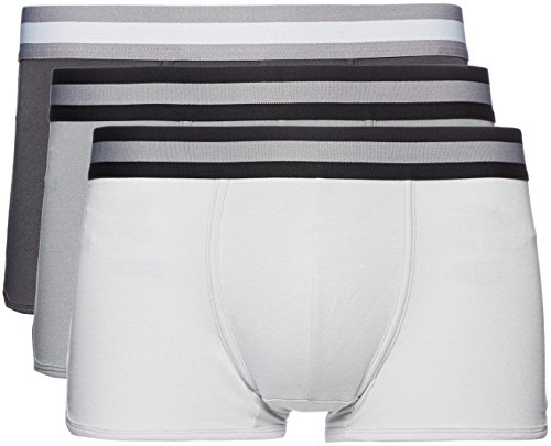 Amazon-Marke: find. Herren Boxershorts im 3er/5er/7er-Pack, Grau (Mid Grey/Light Grey/Charcoal), L, Label: L