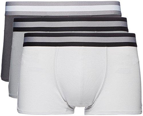 Marca Amazon - find. Calzoncillo Corto Bajo de Algodón Hombre, Pack de 3, Grau (Mid Grey/Light Grey/Charcoal), XL, Label: XL