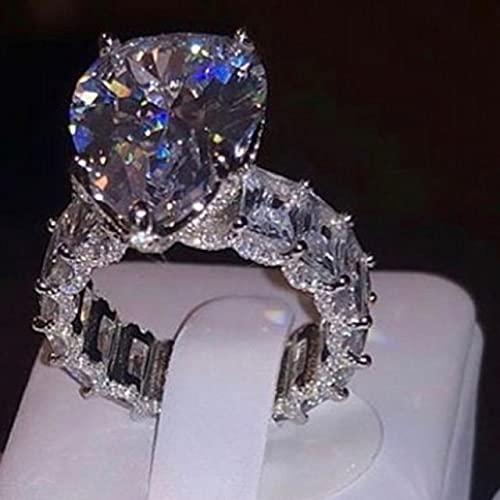 JIUXIAO Anillo de Diamante de Laboratorio deCorte Ovalado Vintage925 joyería de Plata esterlina Compromiso Anillo de Boda Anillos de Diamante de Laboratorio para Mujeres Hombres Regalo de Fiesta