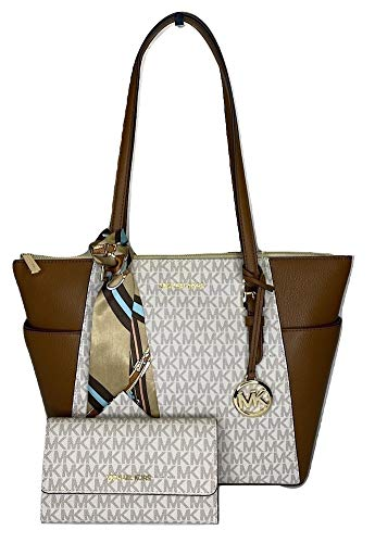 MICHAEL Michael Kors Charlotte Large Zip Tote bundled with matching Trifold Wallet and Skinny Scarf (Signature MK Vanilla)
