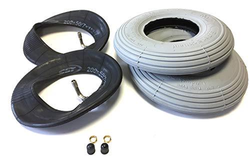 Deli Rollstuhlreifen 2 Stück 200 x 50, (auch 8x2), grau, 2 Stück Schlauch mit Winkelventil 90°/90°, Reifen mit Rillenprofil Leichtlauf, Luftdruck 2,5 bar, passend für manuellen Rollstuhl