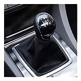 Fangfang Bouton De Quart De Vitesse À 5 Vitesses avec Amorce en Cuir Fit pour Ford C-Max Kuga Fiesta FID pour Ford Focus 2 2005-2011 Accessoires De Voiture Manuelle (Color Name : Black)